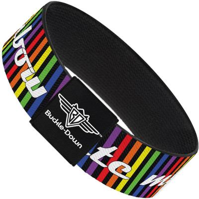 Buckle-Down Elastic Bracelet - TASTE MY RAINBOW Black/Multi Color