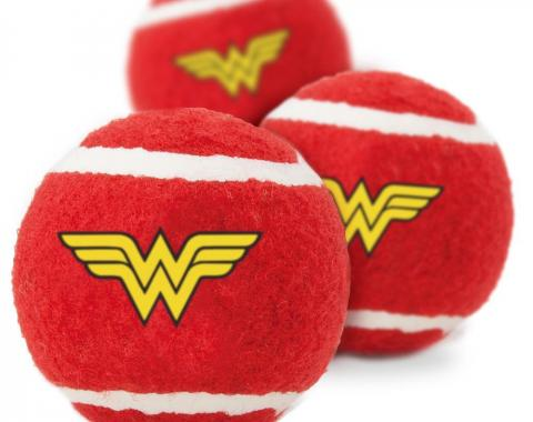 Dog Toy Squeaky Tennis Ball 3-PACK -  Wonder Woman Logo Red/Yellow