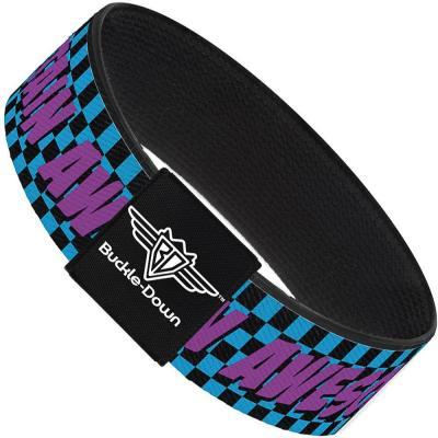 Buckle-Down Elastic Bracelet - CAPTAIN AWESOME Turquoise Checker/Fuchsia