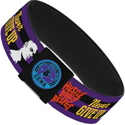 "Elastic Bracelet - 1.0"" - John Cena Silhouette HUSTLE-LOYALTY-RESPECT/NEVER GIVE UP Stripe Purple/Black/Multi Color"