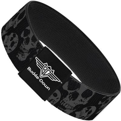 Buckle-Down Elastic Bracelet - Skulls Stacked Weathered Black/Gray