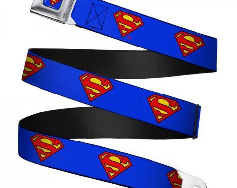 Superman Full Color Blue Seatbelt Belt - Superman Shield Blue Webbing