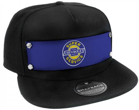 Embellishment Trucker Hat BLACK - Full Color Strap - CHEVROLET SUPER SERVICE Logo Blue/White/Yellow