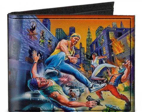 SEGA GENESIS  Canvas Bi-Fold Wallet - Streets of Rage 8-Bit Box Cover Street Fight