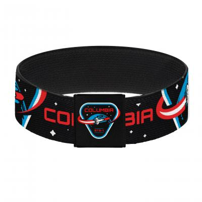 "Elastic Bracelet - 1.0"" - COLUMBIA STS-1 Space Shuttle Black/White/Blues/Red"