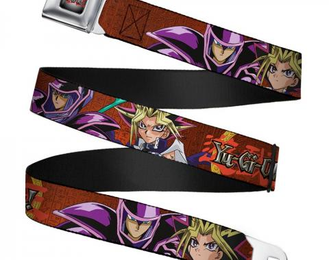 YU-GI-OH! Logo Full Color Gray Fade/Red Seatbelt Belt - YU-GI-OH! Dark Magician & Yugi Poses/Hieroglyphics Reds Webbing