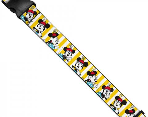 Luggage Strap - Minnie Mouse w/Hat Poses Stripe Yellow/White