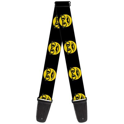 Guitar Strap - Happy Face w/Glasses& Mustache Black/Yellow/Black
