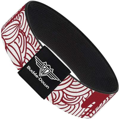 Buckle-Down Elastic Bracelet - Doodle1/Paint Drips White/Red