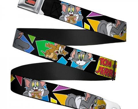 Tom and Jerry Logo Full Color Black/Red Seatbelt Belt - TOM & JERRY Poses Black/Multi Color Webbing