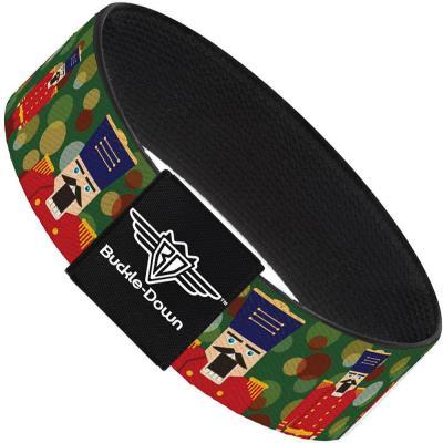Buckle-Down Elastic Bracelet - Christmas Nutcracker/Polka Dots Greens/Gold/Red
