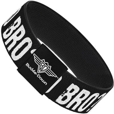 Buckle-Down Elastic Bracelet - U MAD BRO? Weathered Black/White