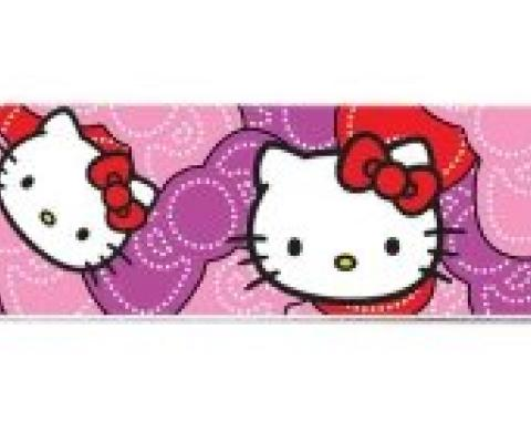 "Magnetic Web Belt HKB-Hello Kitty Face Full Color Black - 1.0"" - Hello Kitty Pink/Red Bowtie Webbing"