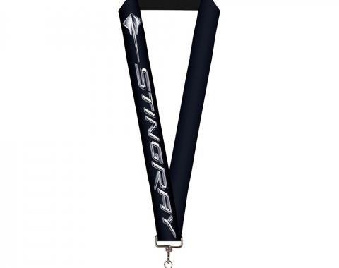 """Lanyard - 1.0"""" - C7 STINGRAY Logo Black/Silver"""