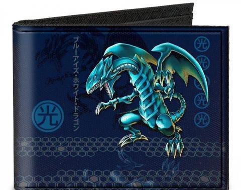 Canvas Bi-Fold Wallet - Blue-Eyes White Dragon Pose/LIGHT Kanji + BLUE-EYES WHITE DRAGON/Honeycomb Blues/Gray
