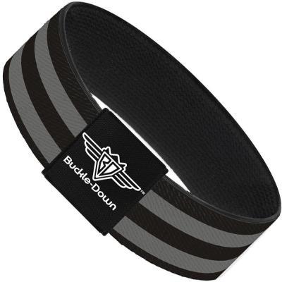 Buckle-Down Elastic Bracelet - Stripes 3Black/2Gray