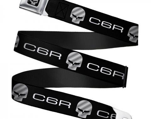 C6R Jake Skull Seatbelt Belt - C6 Racing Logo Repeat Black/Silver
