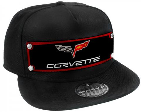 Embellishment Trucker Hat BLACK - Full Color Strap - C6 CORVETTE Logo Red/Black/Gray/White