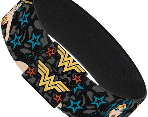 "Elastic Bracelet - 1.0"" - Wonder Woman Poses/Logo/Stars Leopard Black/Gray"