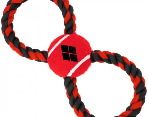 Dog Toy Rope Tennis Ball - Harley Quinn Diamond Icon Red/Black + Red/Black Rope
