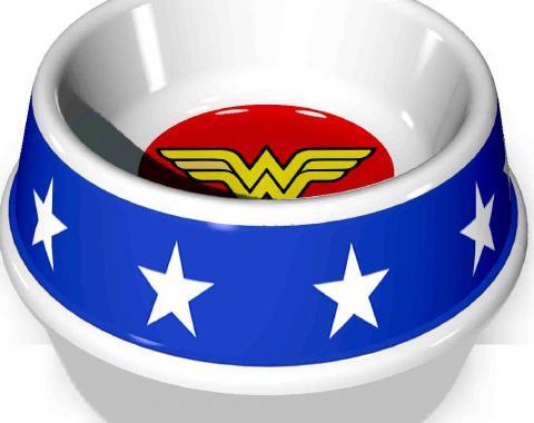 "PBWL1-MLM-7.5-WWBW  Single Melamine Pet Bowl - 7.5"" (16oz) - Wonder Woman Icon + Stars"
