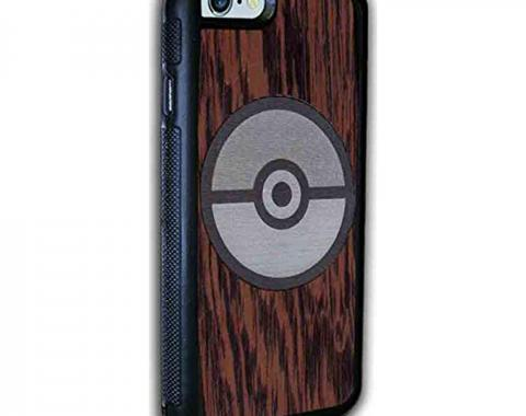 Rubber Cell Phone Case - BLACK - Poke Ball Marquetry Black Walnut/Metal