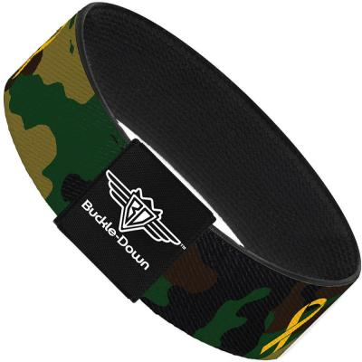 Buckle-Down Elastic Bracelet - Support Our Troops Camo Olive/Yellow Ribbon