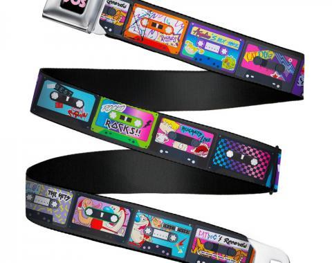Nick 90'S Rewind Icon Full Color Black/Blue/Pink Seatbelt Belt - Nick 90's 13-Mash Up Cassette Tapes Black Webbing