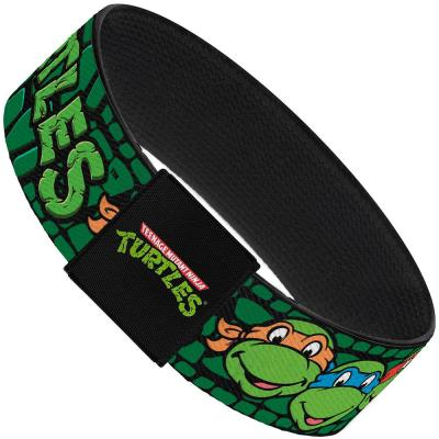 "Elastic Bracelet - 1.0"" - Classic TMNT Group Faces/TURTLES Turtle Shell Black/Green"
