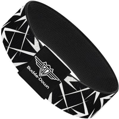 Buckle-Down Elastic Bracelet - Spikes Scattered Black/White