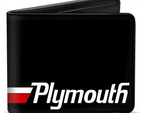 Bi-Fold Wallet - PLYMOUTH Text/Stripe Black/White/Red