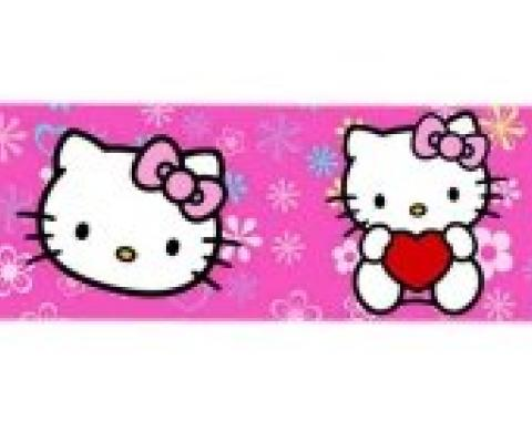 "Magnetic Web Belt HKT-Hello Kitty Face Flowers & Hearts Full Color Pink - 1.0"" - Hello Kitty w/Heart/Face Flowers & Hearts Pink Webbing"