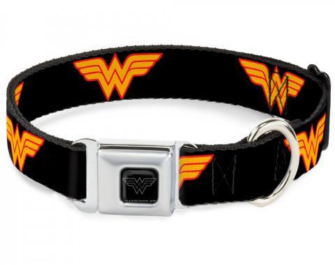 Dog Collar WWE-Wonder Woman Black/Silver - Wonder Woman Logo Black