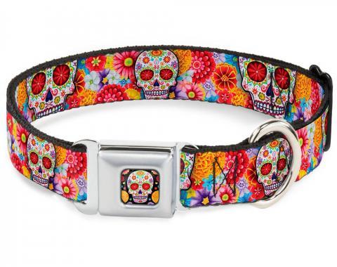 Dog Collar TYA-Sugar Skull Starburst Full Color Black/Multi Color - Sugar Skull Starburst White/Multi Color