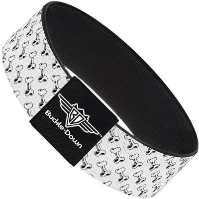 Buckle-Down Elastic Bracelet - Dog Bone White/Black