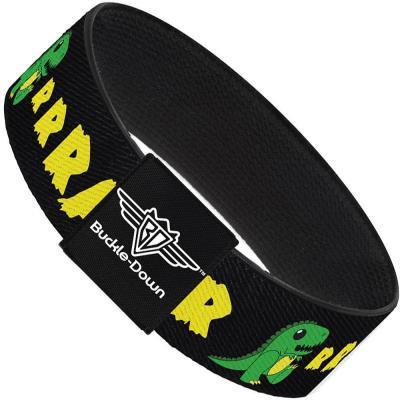 Buckle-Down Elastic Bracelet - RRRAWR Dinosaur Black/Green/Yellow