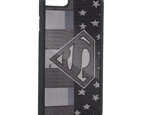 Rubber Cell Phone Case - BLACK - Superman Pose/Shield Americana Brushed Silver
