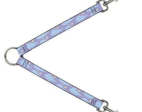 Dog Leash Splitter - Cloudy/Starry Sky Lavender/Blue/Yellow