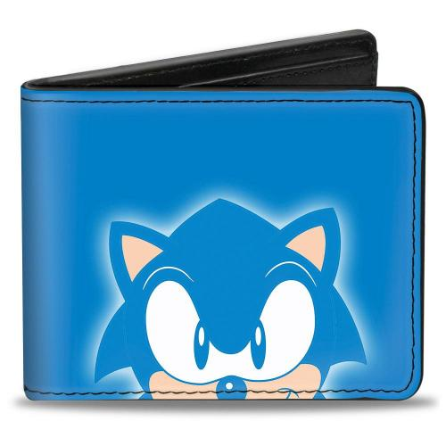 Sonic Classic Bi Fold Wallet Sonic Grin Close Up Back Pose Blues White