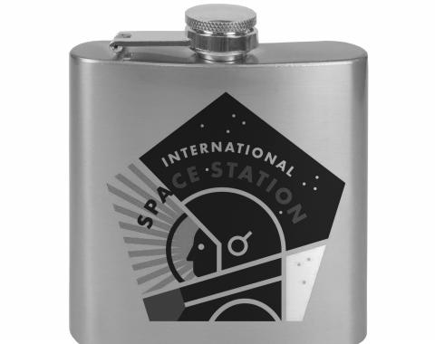 Stainless Steel Flask - 6 OZ - INTERNATIONAL SPACE STATION Pentagon Tonal Grays