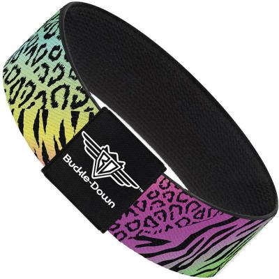 Buckle-Down Elastic Bracelet - Animal Skins Rainbow/Black