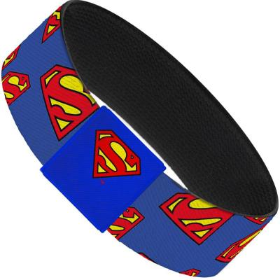 "Elastic Bracelet - 1.0"" - Super Shield Diagonal Royal Blue/Red"