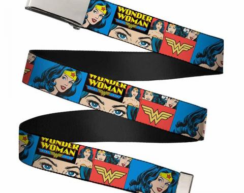 Chrome Buckle Web Belt - Wonder Woman Panels Blue Webbing