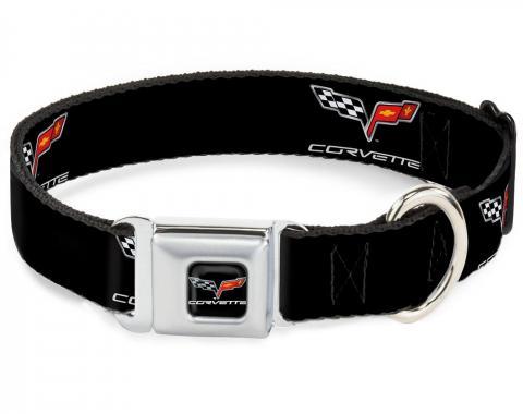 Dog Collar C6-C6 Black/Silver - C6 Logo Repeat