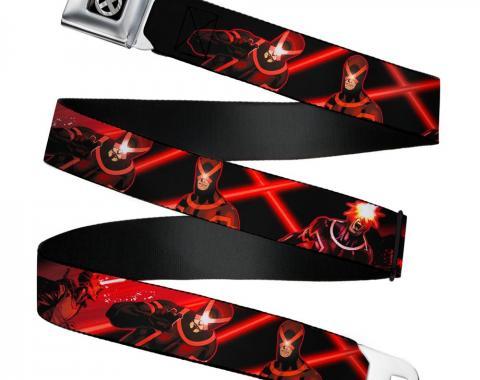 MARVEL X-MEN   X-Men Icon Full Color Black/Silver Gradient - Seatbelt Belt - Cyclops 3-Action Poses/Laser Beams Black/Reds Webbing
