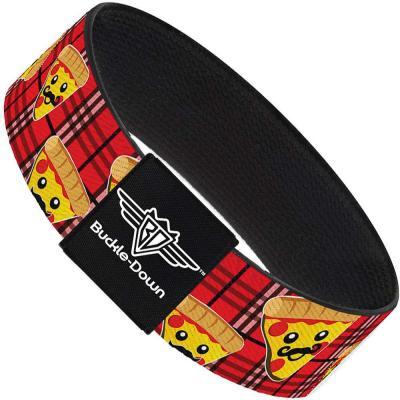 Buckle-Down Elastic Bracelet - Pizza Man Plaid Red