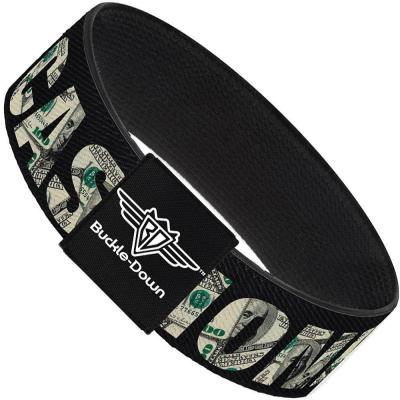 Buckle-Down Elastic Bracelet - CASH MONEY $ Black/Dollars