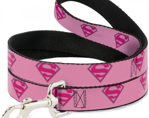 Dog Leash Superman Shield Pink