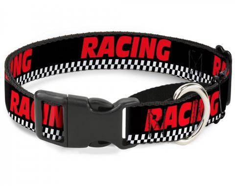 Plastic Martingale Collar - RACING w/Checker Black/White/Red