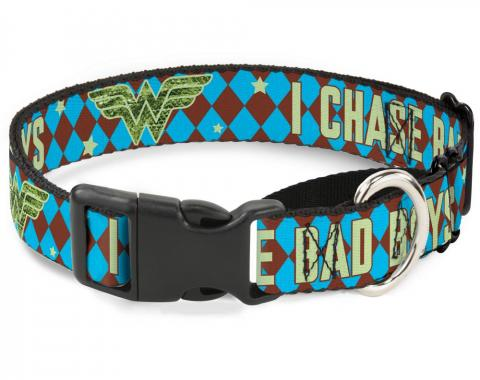 Plastic Martingale Collar - Wonder Woman Logo/I CHASE BAD BOYS Diamonds Blue/Brown